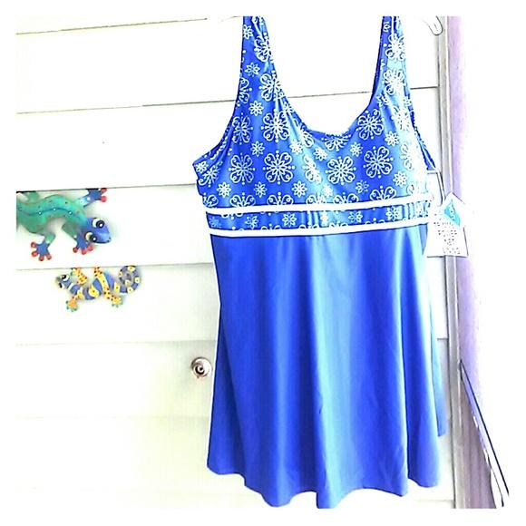 Blair Swim Womens One Piece Dress Suit Sz 26w Nwt Poshmark